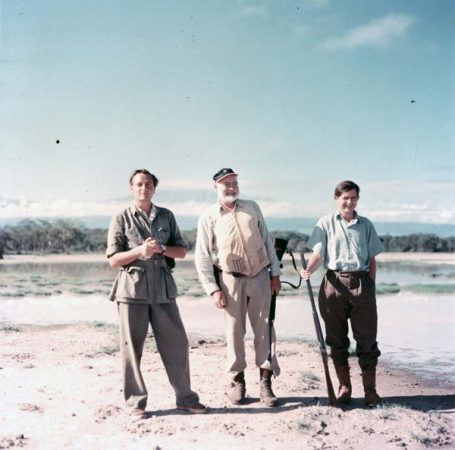 EH241T 1953/1954 Ernest Hemingway, Patrick Hemingway, and an unidentified man in Africa, 1953-1954. Photographer unknown in the Ernest Hemingway Collection of the John F. Kennedy Presidential Library, Boston.
