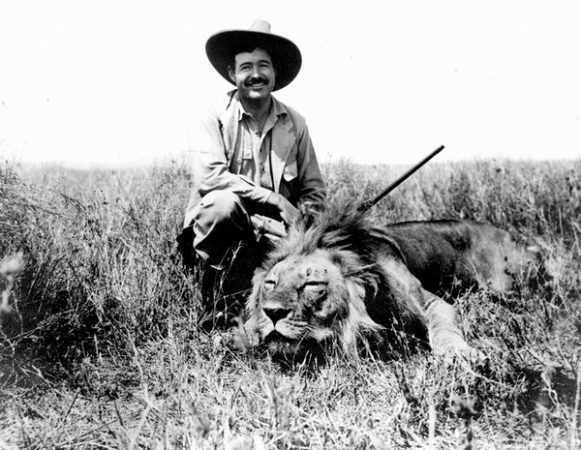 EH 7018P Ernest Hemingway on safari, Africa. January, 1934. Photograph in the Ernest Hemingway Photograph Collection, John F. Kennedy Presidential Library and Museum, Boston.